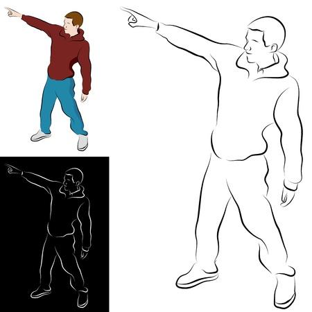 Een afbeelding van een wijzende hand gebaar man lijntekening.