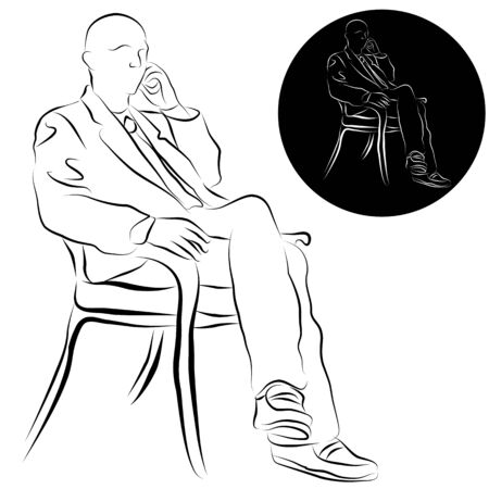 talking: An image of a businessman talking on a phone line drawing.