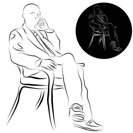 Een afbeelding van een zakenman praten op een telefoon lijn tekening. Stock Illustratie