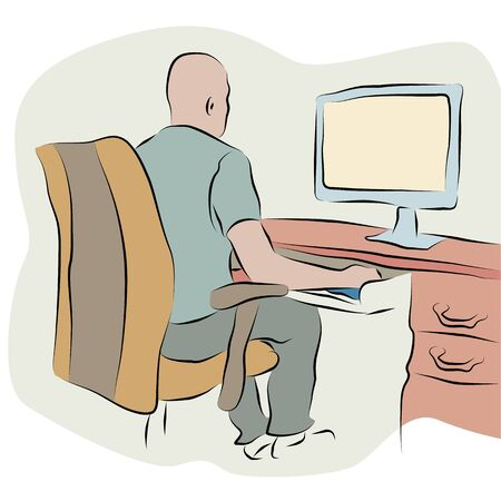 An image of a businessman working at a computer line drawing.