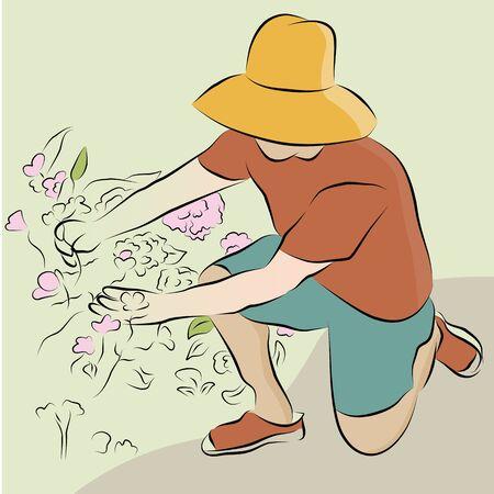 Een afbeelding van een mens snoeien bloementuin lijntekening.