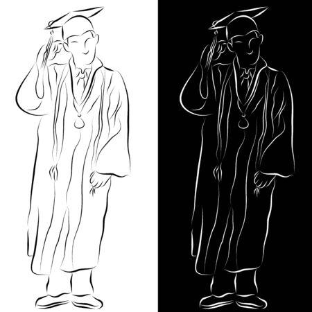 卒業ガウン線画に身を包んだ学生のイメージ。  イラスト・ベクター素材