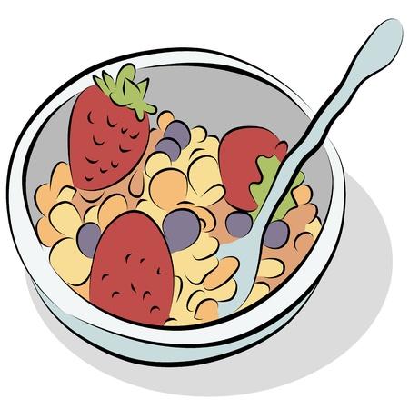 딸기와 블루 베리 라인 드로잉 시리얼 그릇의 이미지.