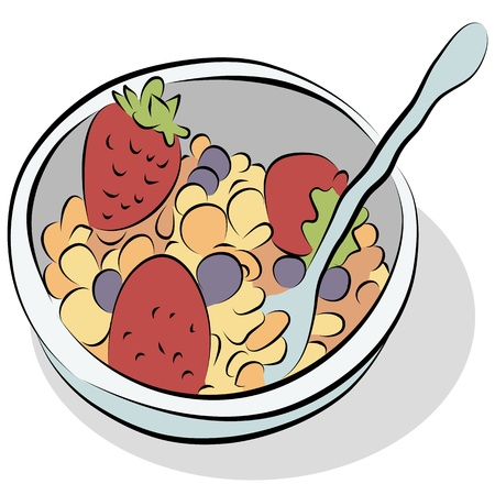 An image of a bowl of cereal with strawberries and blueberries line drawing.
