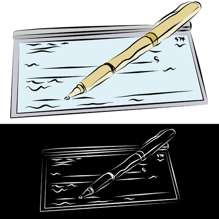 checkbook: An image of a checkbook and pen line drawing.