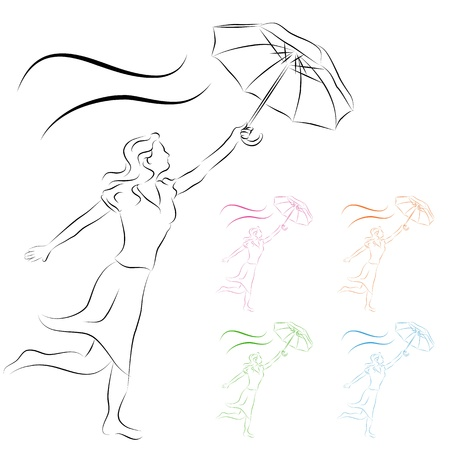 line drawing: An image of a woman holding an umbrella line drawing.