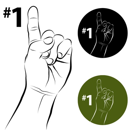 1: An image of a number one hand gesture line drawing.