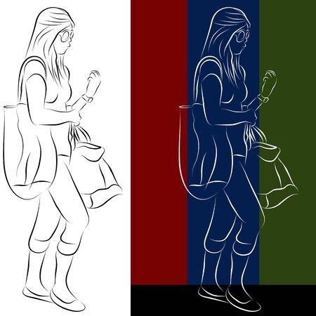Ein Bild einer Warenkorb Mädchen Linie Zeichnung. Standard-Bild - 9552286