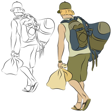 rucksack: An image of a young man carrying man bags line drawing.