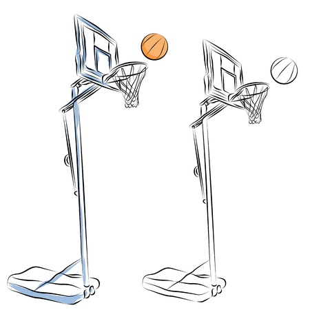 An image of a basketball hoop stand line drawing.