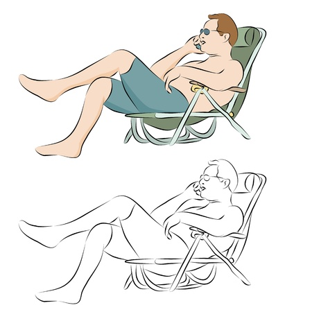 An image of a man tanning outdoors using a phone line drawing. Vector