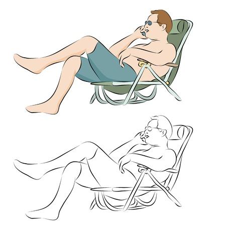 Ein Bild von einem Mann, Solarium im Freien mit eine Telefon-Line-Zeichnung. Standard-Bild - 9552297