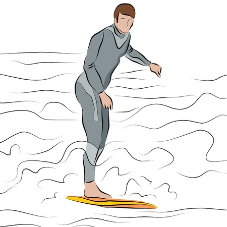 An image of a man surfing in the ocean line drawing. Vector