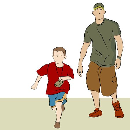 father: An image of a father and son walking together line drawing.