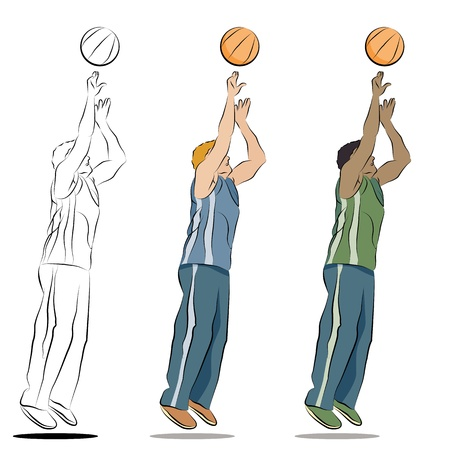 line: An image of a basketball player line drawing. Illustration