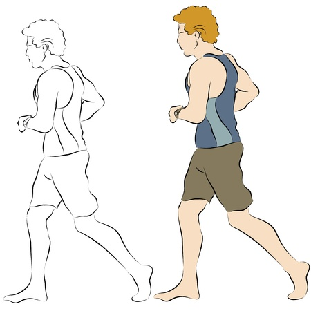 line: An image of a male beach jogger line drawing.