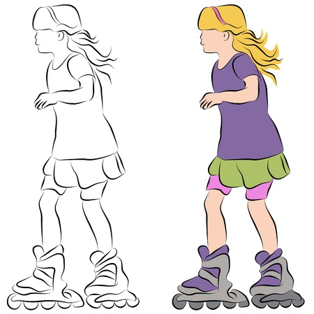 An image of a rollerblading little girl line drawing. Vector