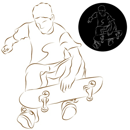 An image of a skateboard stunt rider line drawing.