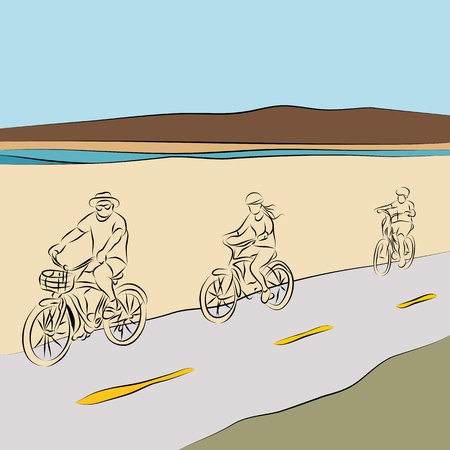An image of a family riding bicycles on the beach ine drawing.