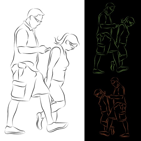 An image of a couple going for a walk line drawing. Vector