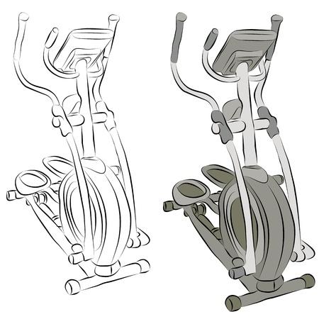 eliptica: Una imagen de un dibujo de l�nea m�quina el�ptica.