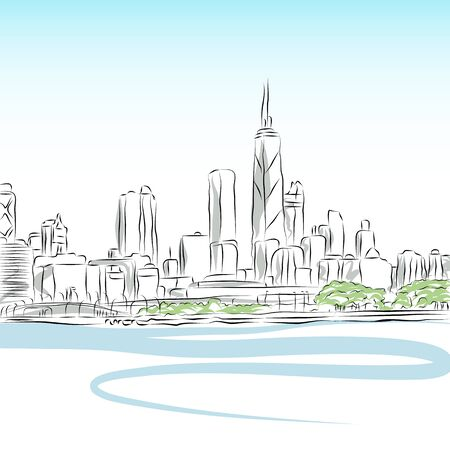 chicago: An image of a Chicago cityscape line drawing.