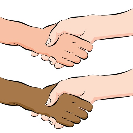 interracial: An image of a people shaking hands line drawing. Illustration
