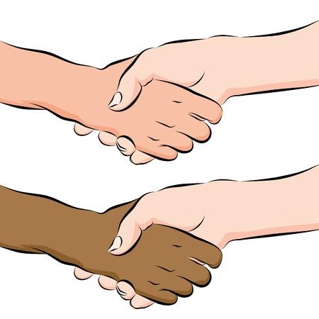 interracial: Una imagen de un pueblo agitando las manos dibujo de l�neas.