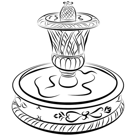 fountain: An image of a victoriam water fountain line drawing. Illustration