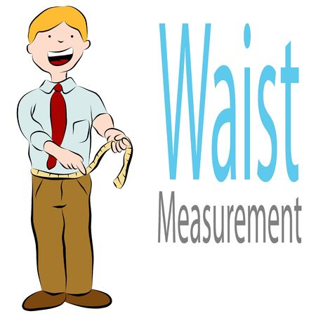 waist: An image of a man measuring his waist with a tape measure. Illustration