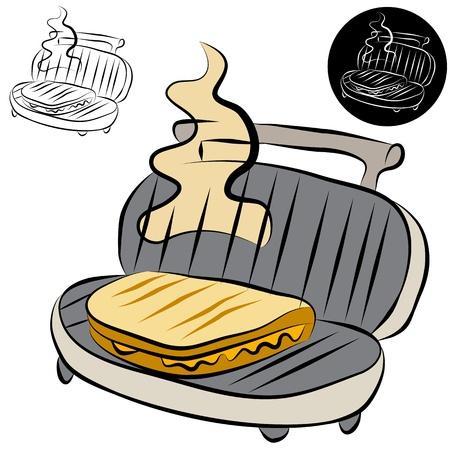 Una imagen de un panini pulse sándwich dibujo de líneas de fabricante. Ilustración de vector