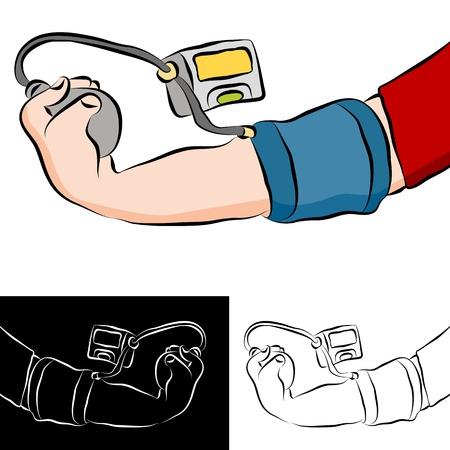 Een afbeelding van een man krijgt een bloeddruk testen.