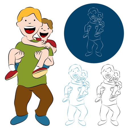 An image of a father son piggy back ride. Stock Vector - 9582973