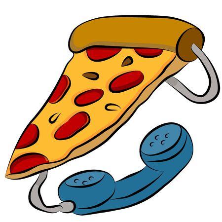 An image of a pizza phone hotline cartoon. Ilustração