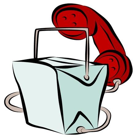 Ein Bild von einem chinesischen Imbiss Karton Telefon-Hotline Karikatur.