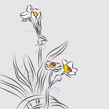 An image of an abstract orchid flower arrangement line drawing. Illustration