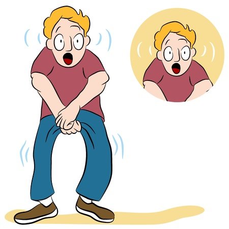 An image of a man with a weak bladder. Illustration