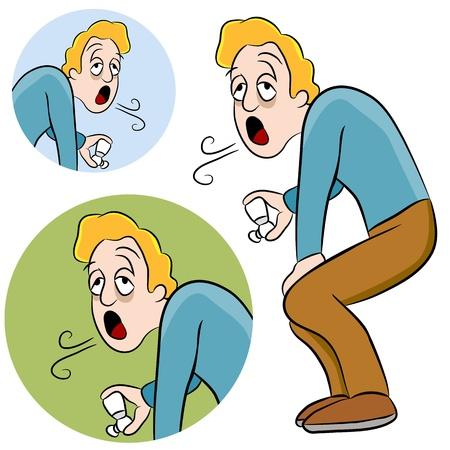asthma: Ein Bild von einem Mann mit Asthma, halten ein Inhalator. Illustration
