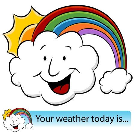 Een afbeelding van een weer regenboog zon wolk banner. Stock Illustratie
