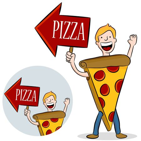 An image of a man wearing a pizza costume with arrow sign.