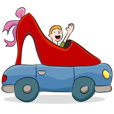 An image of a shoe repair car shaped like a high heel. Vector