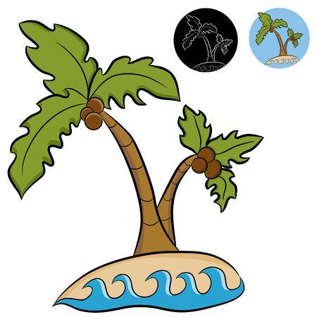Een afbeelding van een verlaten eiland met palmbomen.