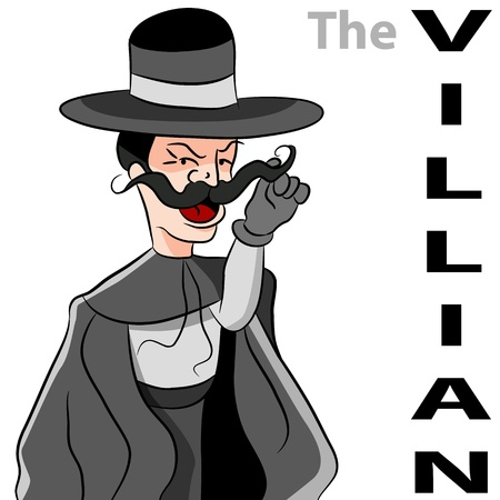 sinister: An image of a man dressed as an evil villian twirling his moustache.