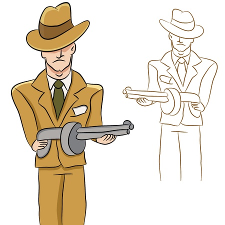 An image of a mobster with a machine gun. Stock Vector - 9628999