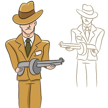 Een afbeelding van een gangster met een machinegeweer.