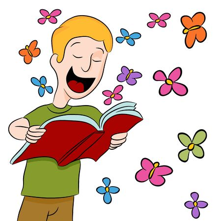 An image of a boy reading a book outdoors among butterflies and flowers. Illustration