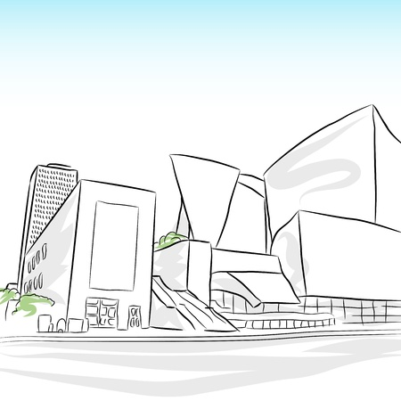 los: An image of a downtown los angeles skyline sketch.