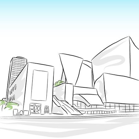 los angeles: Ein Bild von einer Innenstadt von Los Angeles Skyline Skizze.