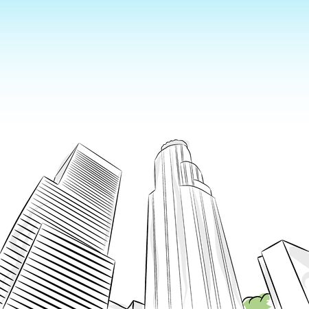 An image of a downtown los angeles financial district. Vector