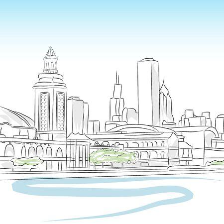 Een afbeelding van een centrum skyline van chicago.